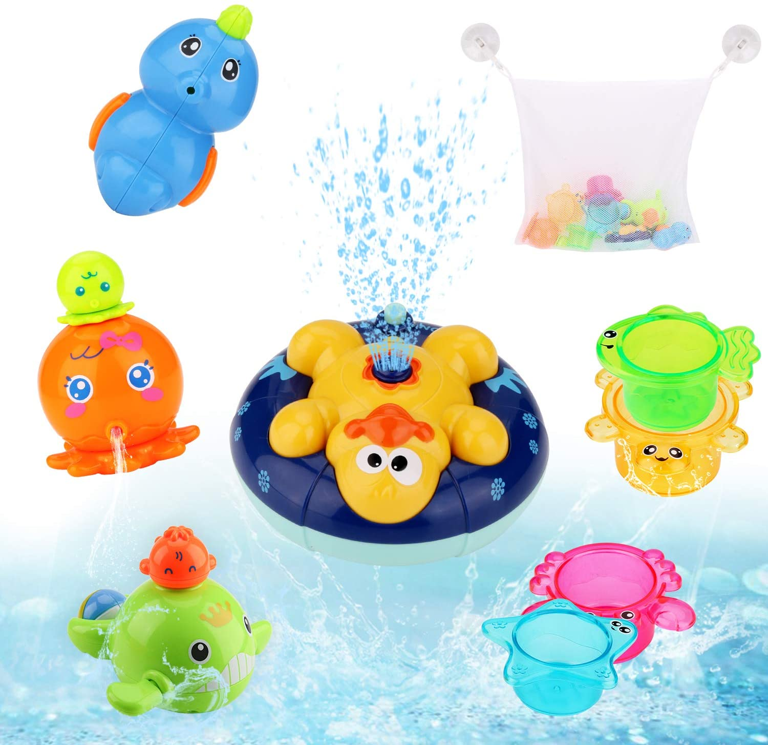 BBLIKE Bath Toys for Toddlers, Mold Free Baby Bath Toys w/ Organizer Storage Bag, Stacking Cups Toy, Wind Up Bathtub Toy for Age 18 Months+