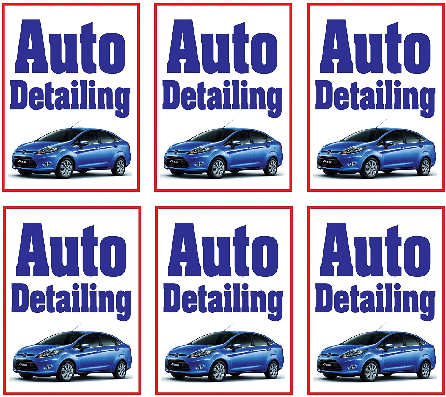 Auto Detailing | Large Store Window/Wall Retail Display Paper Signs | Full Color | 18w x 24h (6 Pack)