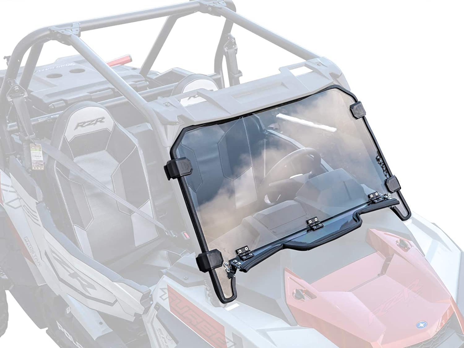 SuperATV Heavy Duty Standard Polycarbonate Vented Full Windshield for Polaris RZR XP Turbo 2019+ - Easy to Install!