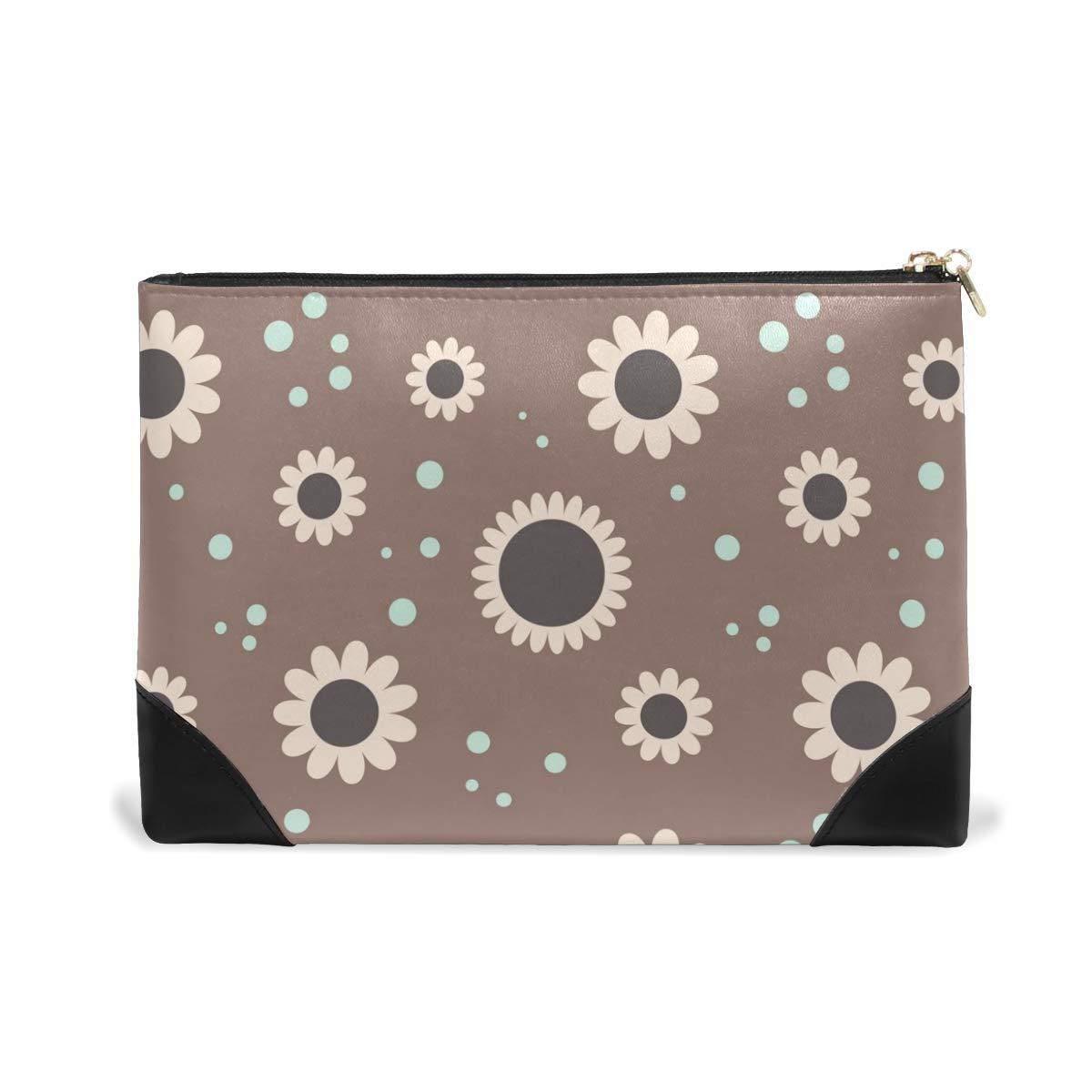 Women Makeup Bag Flower Polka Dot Genuine Leather Zipper Cosmetics Pouch Lady Toiletry Bag
