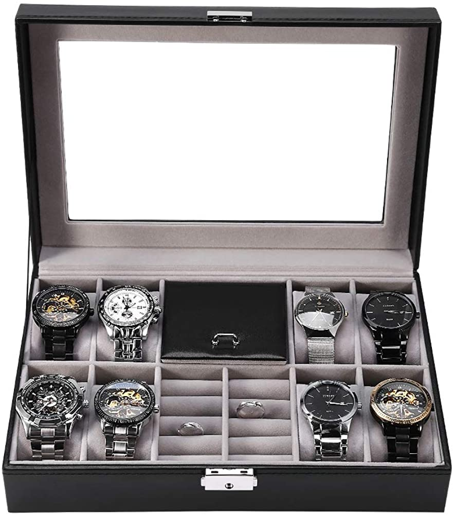 Jewelry Organizer, Black Jewelry Box Multi-Functional 8 Slots + 2 Grids Watch Display Case Ring Jewelry Storage Box Organizer Men's and Women's Storage Box