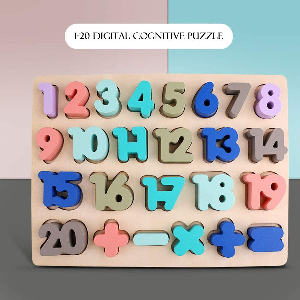 Younglingn Wooden Puzzles Toddlers Toys, Number Montessori Learning Board Game - Suits for Preschools & Early Educational Learning for Kindergarten Toddlers