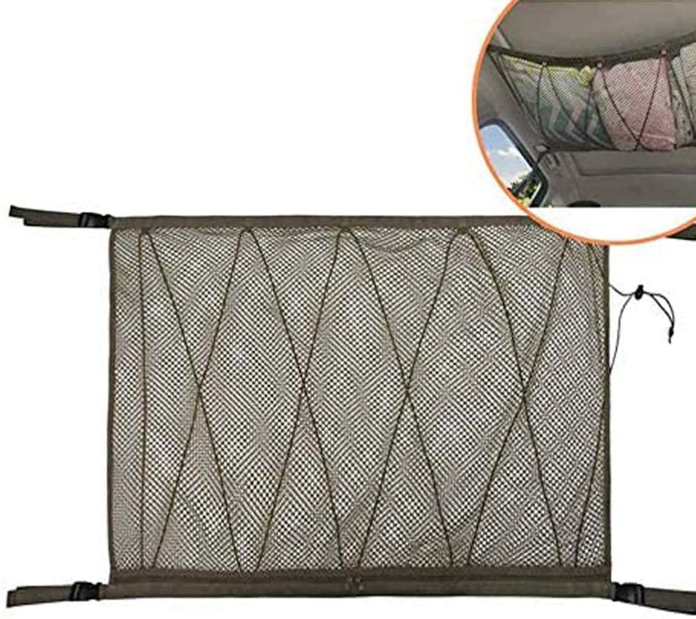 ZATOOTO SUV Ceiling Cargo Net Pocket - Car Roof Long Trip Storage Bag Tent Putting Quilt Children's Toy Towel Sundries Interior Accessories (ZJB-Khaki)