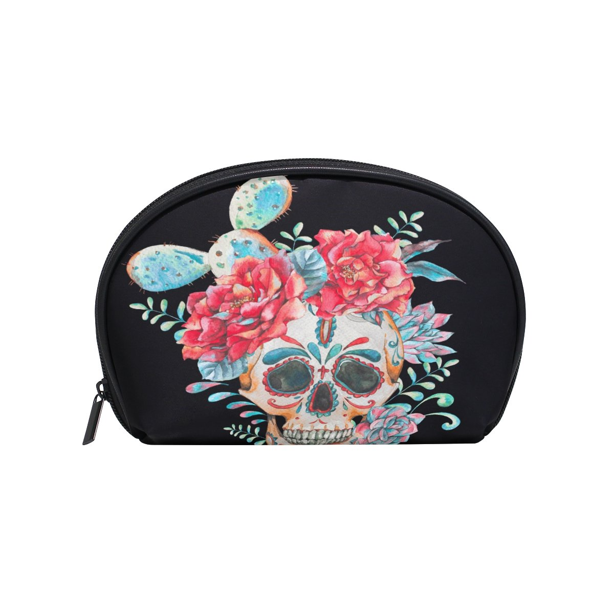ALAZA Cactus Floral Skull Half Moon Cosmetic Makeup Toiletry Bag Pouch Travel Handy Purse Organizer Bag for Women Girls