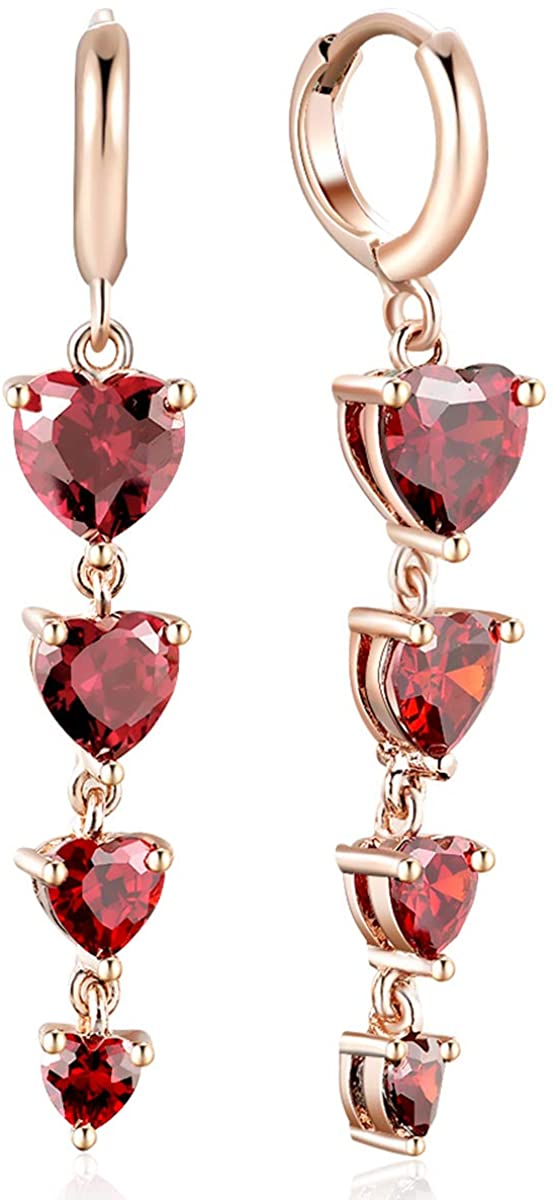 FANCIME Drop Dangle Earrings Plated With Rose Gold Created Ruby/CZ Cubic Zirconia Jewelry Gift for Women Girls
