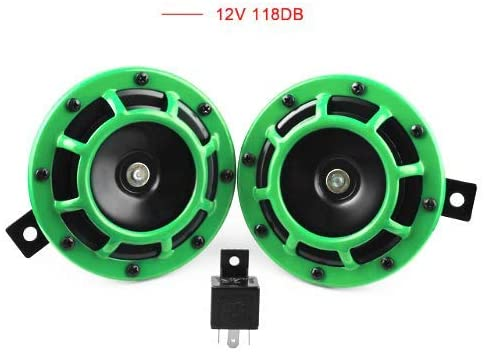 Templehorse Eletric Car Horn Kit 12V 135db Super Loud High Tone and Low Tone Metal Twin Horn Kit with Bracket for Cars Trucks SUVs RVs Vans Motorcycles Off Road Boats (Colour) (Green)