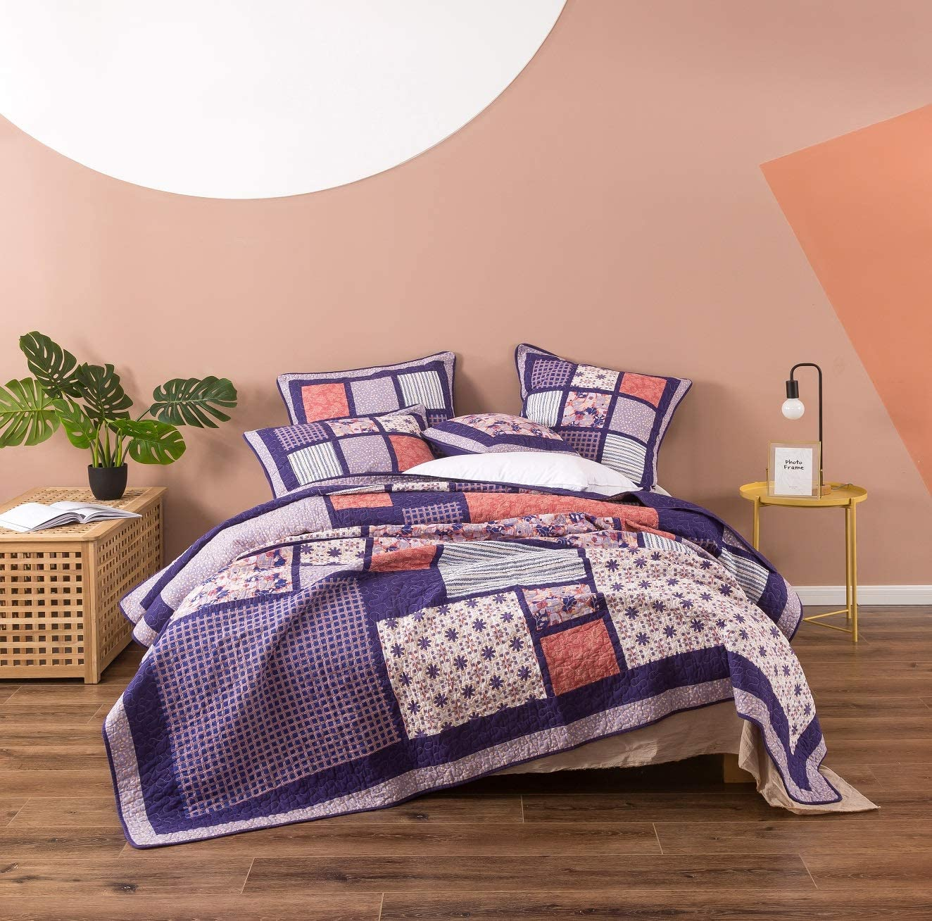DaDa Bedding Cotton Patchwork Quilt Floral Bedspread - Bohemian Cherry Blossom Quilted Design Coverlet Set - Reversible Bright Vibrant Plum Purple & Peach - Full - 3-Pieces - Designed in USA