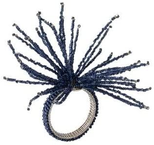 Kim Seybert Spider Bead Burst Napkin Ring in Navy, Set of 4
