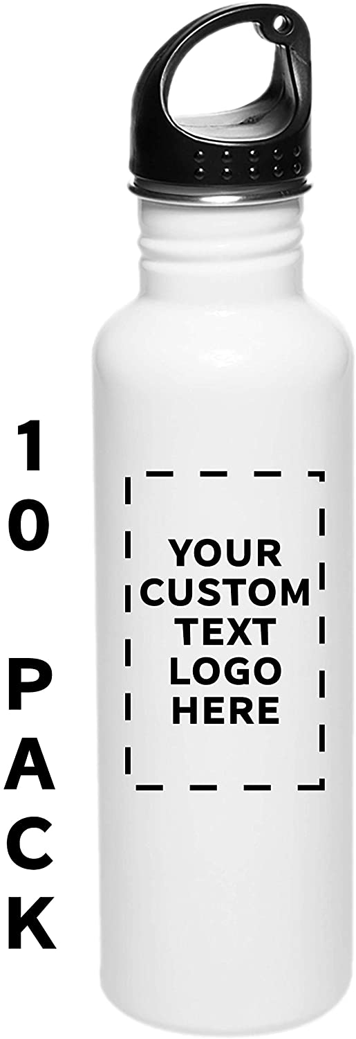 Sports Water Bottles - 26 oz - 10 pack - Customizable Text, Logo - Stainless Steel Bottle For Hiking, Biking, Outdoor Activity, Gym - White