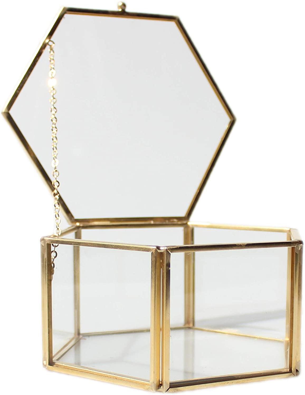 libproqia Home Details Vintage Brass Glass Jewelry Box with Lid Decorative Shadow Box (Hexagon)