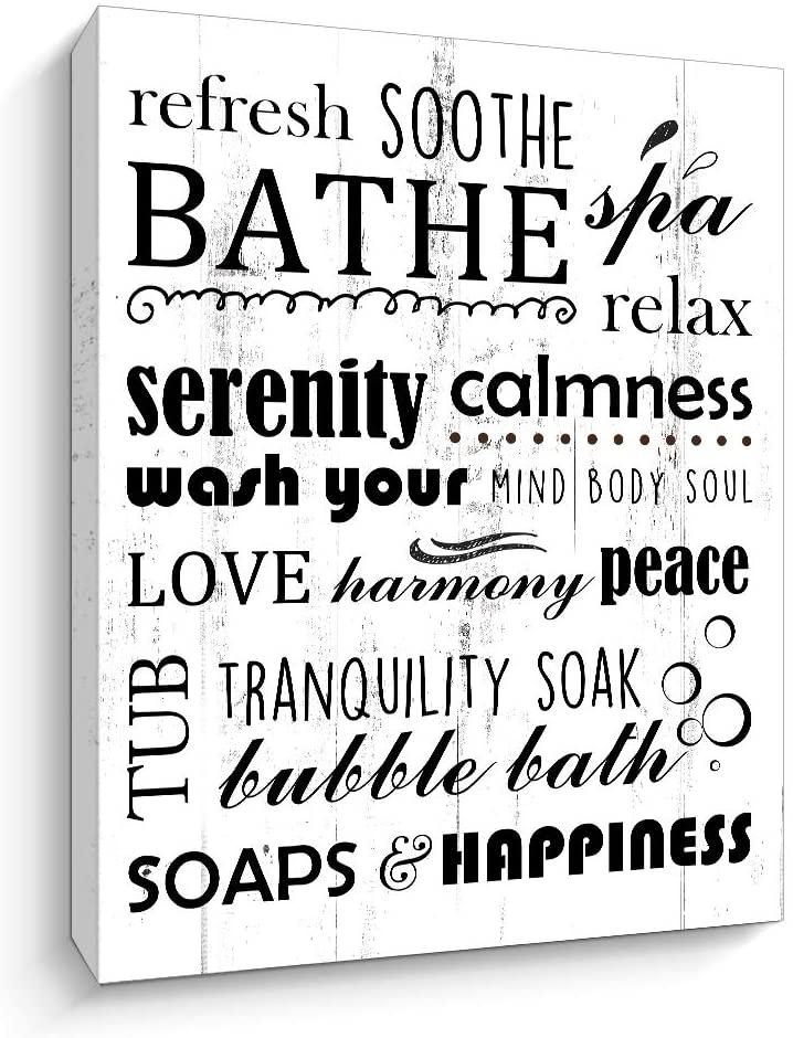 Vintage Relax Reflesh Soothe Bathe Bathroom Rules Canvas Prints Wall Art Sign Decor Rustic Bath Rules Sign (Refresh-W, 12