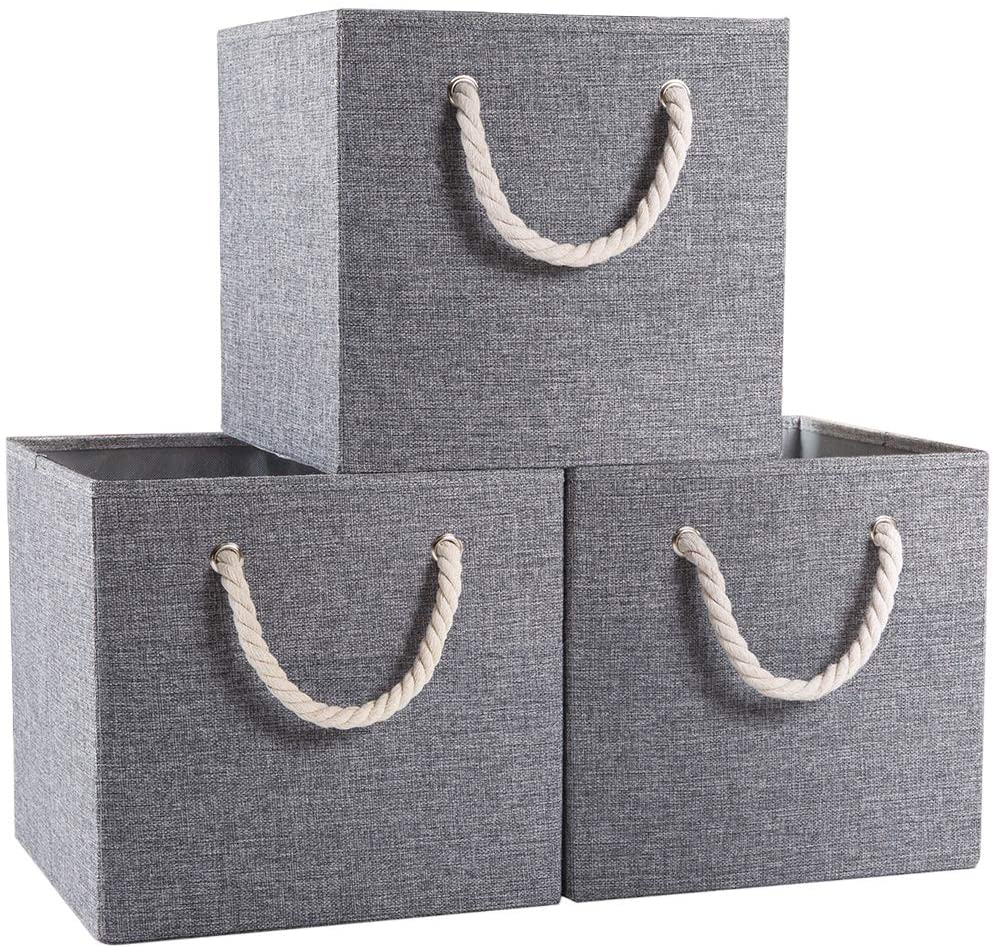 Prandom Large Foldable Cube Storage Bins 13x13 inch [3-Pack] Fabric Linen Storage Baskets Cubes Drawer with Cotton Handles Organizer for Shelves Toy Nursery Closet Bedroom Grey