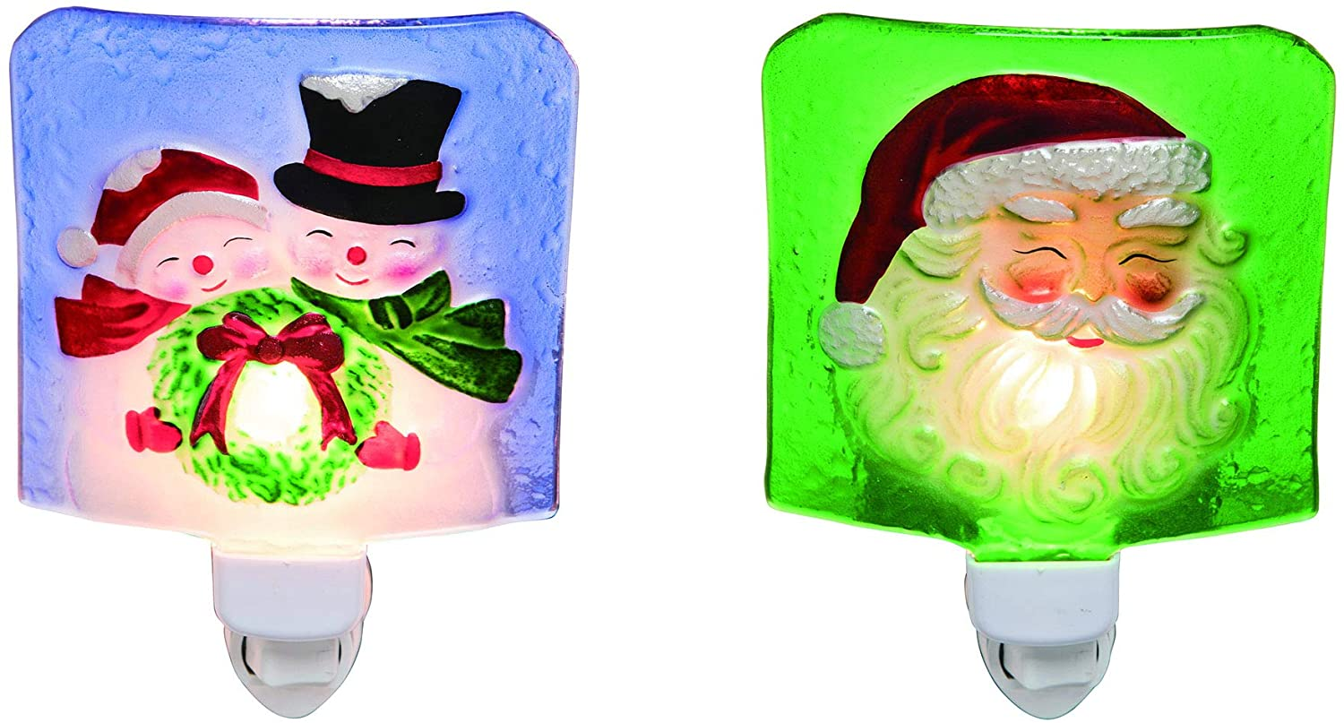 Santa and Snowmen Green 5 x 4 Glass and Acrylic Christmas Night Lights Set of 2