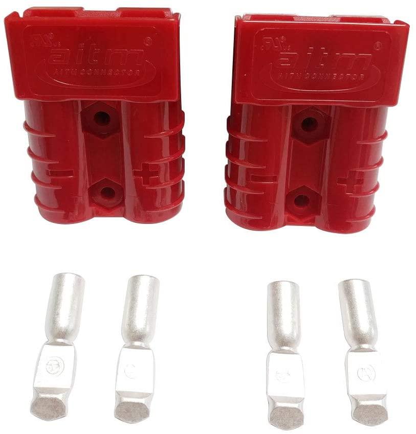 Dent-de-lion Battery Connector 600V 50A 50Amp Battery Quick Connection Plug Connector 2Pcs (Red, Kit 10/12 Awg)