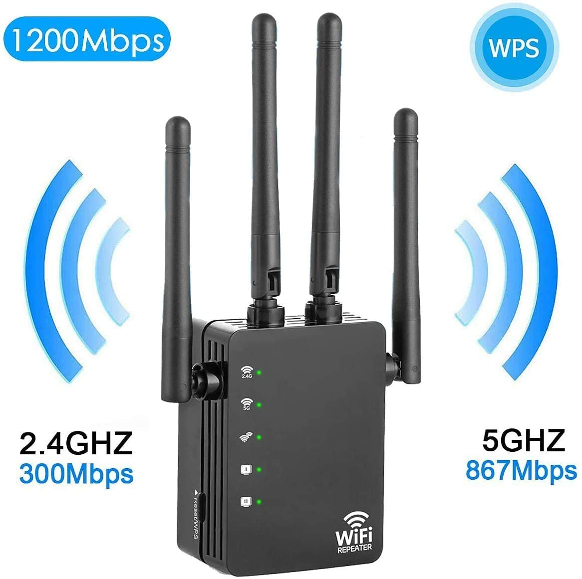 WiFi Range Extender - 1200Mbps WiFi Repeater Wireless Signal Booster, 2.4 & 5GHz Dual Band WPS WiFi Extender Signal Amplifier with Ethernet Port 4 Antennas - Simple Setup (Black)