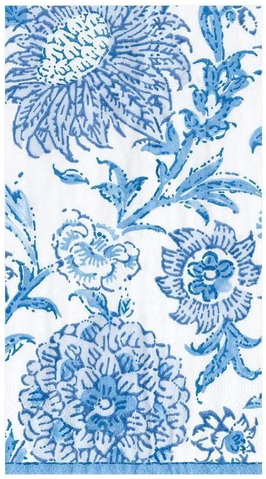 Caspari Indiennes Paper Guest Towel Napkins in Blue - Four Packs of 15