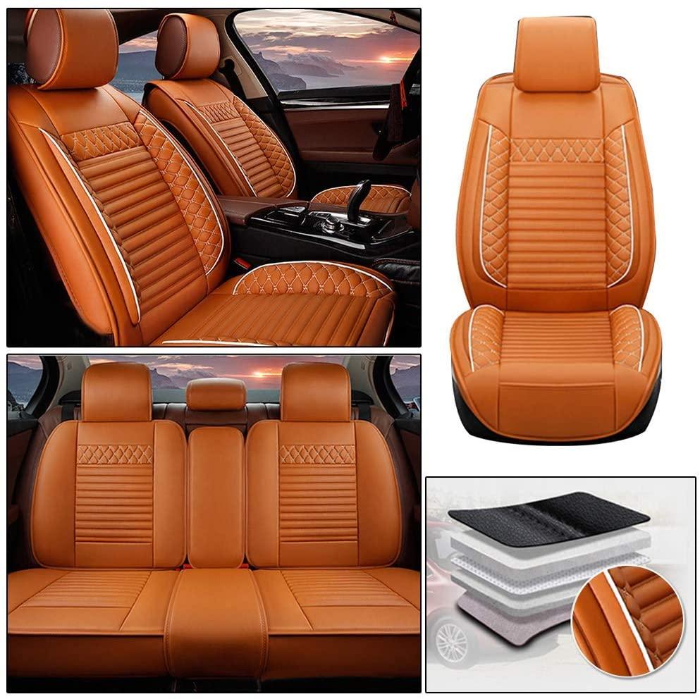 Maiqiken Custom Car Seat Cover for Hyundai Elantra Sonata Equus Tucson i30 ix25 ix35 ix45 5-Seat PU Leather Seat Pad Protector Full Set