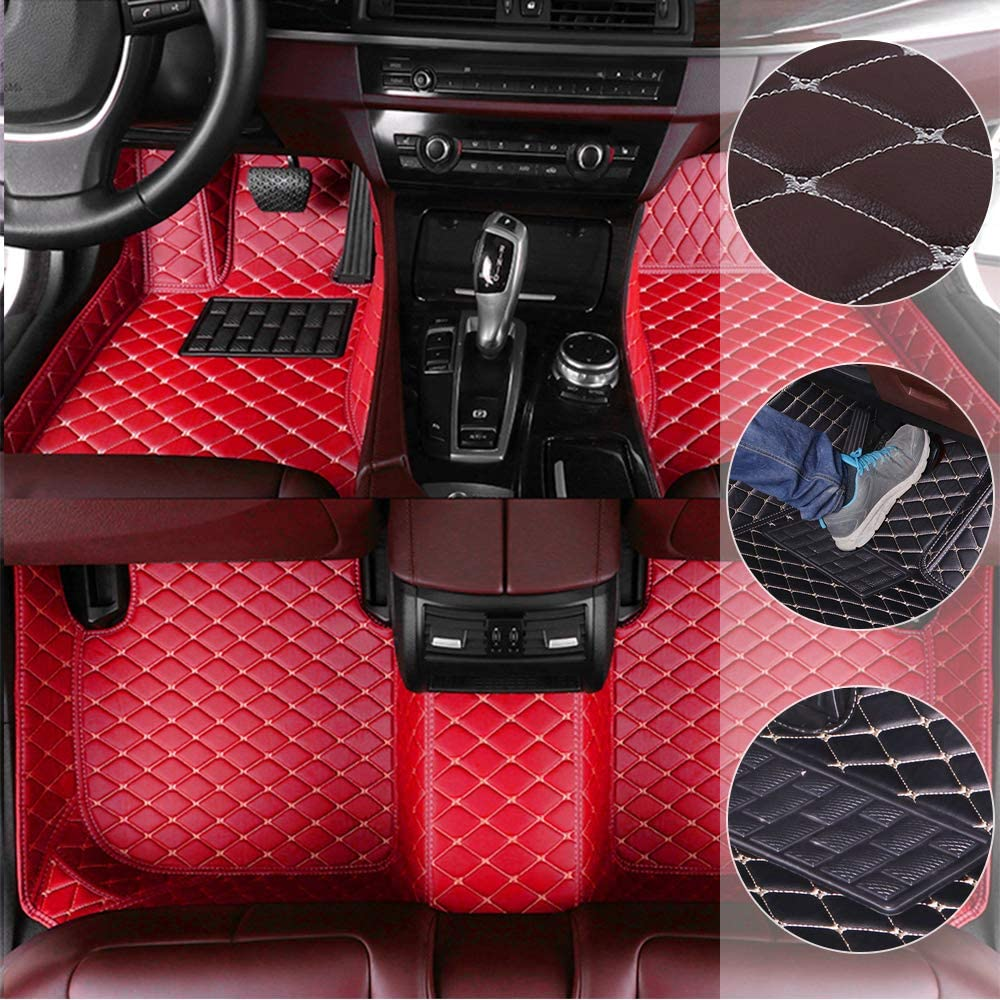 SLONG Car Floor Mats for Land Rover Discovery 3 7seats 2004-2009 All Full Surrounded Cargo Liner All Weather Waterpoof Non-Slip Leather Heavy Duty Custom Fit Front Rear Mat Left Drive Red