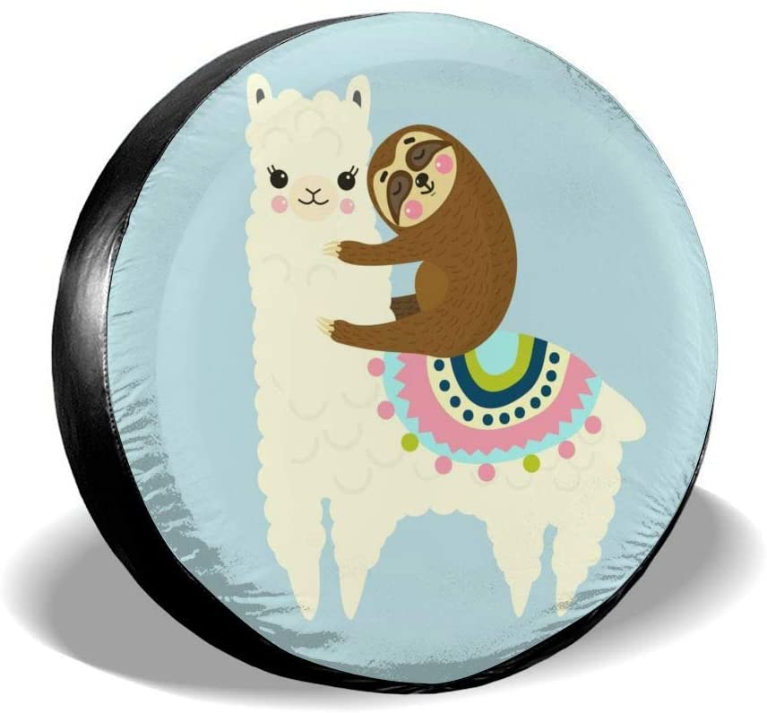 Delerain Cute Cartoon Llama Sloth Spare Tire Covers for RV Jeep Trailer SUV Truck and Many Vehicle, Wheel Covers Sun Protector Waterproof (15 Inch for Diameter 27