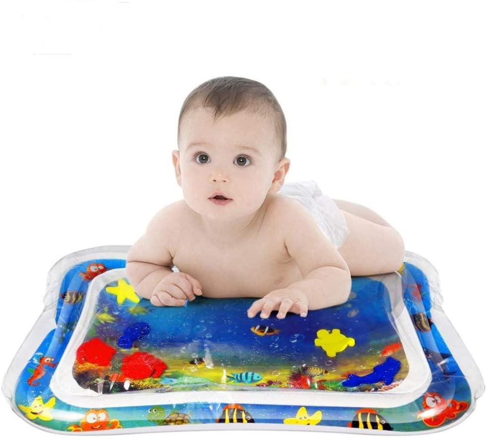 TummyTimeFun, Infant Inflatable Water Play Mat (26 x 20 Inches) - Tummy Time Educational and Sensory Stimulation for Toddlers - Indoor Activity Play-mat Center with Sea Animal Prints Easy to Inflate