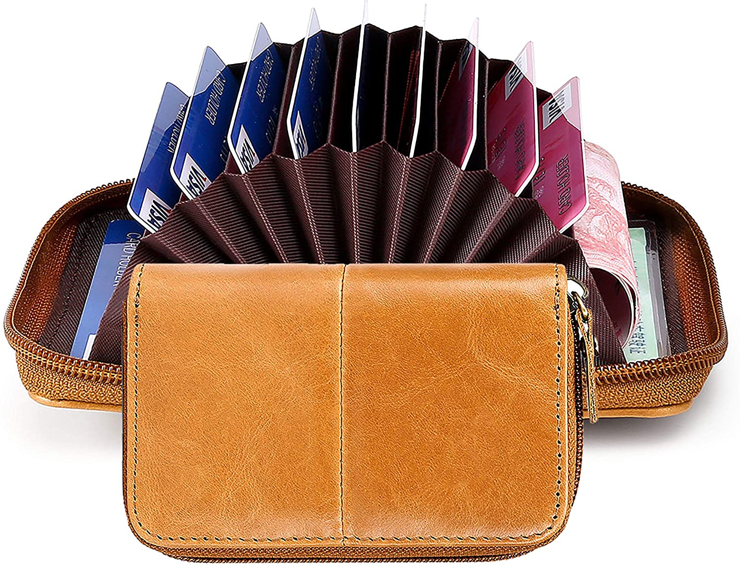 Card Holder,Leather Wallet with Zipper ID Window RFID Blocking,Credit Card Case Fashion