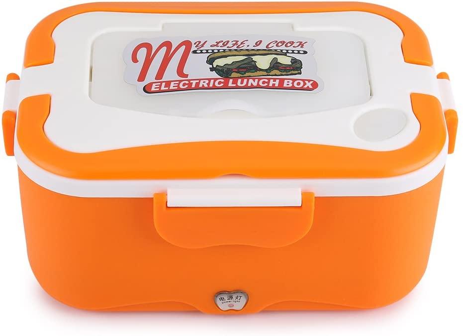 Electric Heating Lunch Box, 1.5L Portable 12V/24V Car Electric Heating Lunch Box Food Warmer Container for Home Office Traveling (Orange 24V)