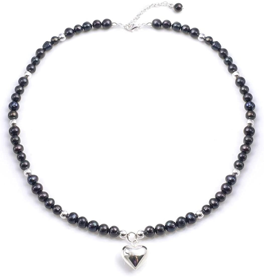 Silverly Womens .925 Sterling Silver Freshwater Cultured Peacock Pearl Heart Charm Necklace, 40-44 cm