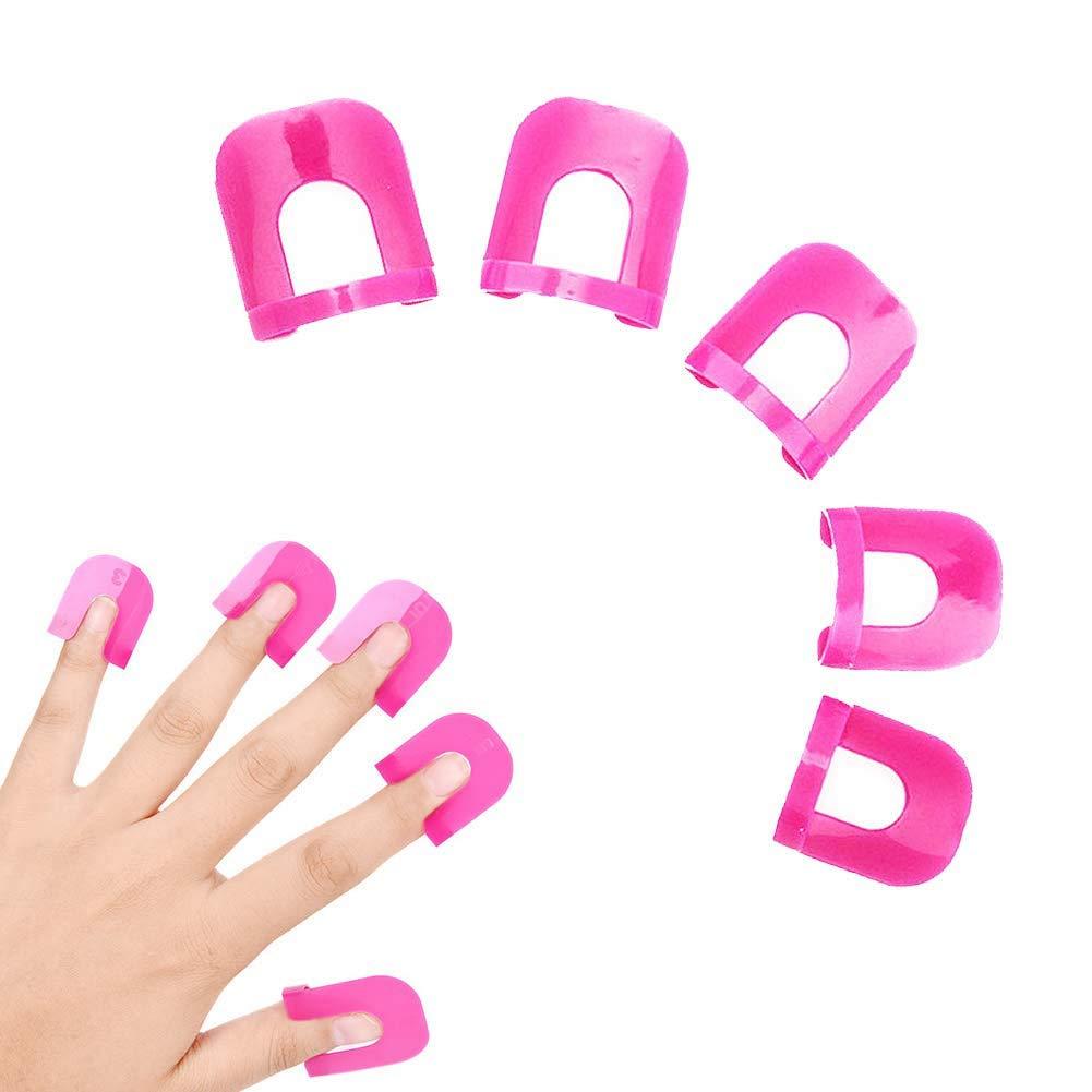 26 pcs/set (10 Sizes) Professional Manicure Finger Nail Art Case Design Tips Cover Polish Shield Protector Tool Reusable Soft Plastic Nail Polish Stencil,Spill Proof Manicure Protector Tools