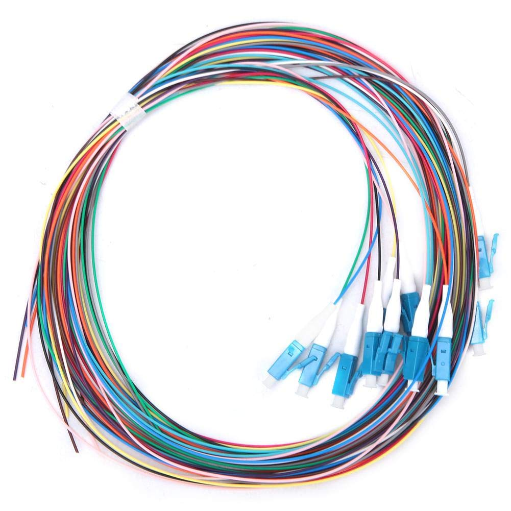 12 Strand Fiber Optic Pigtail, LC/UPC Single Mode Low Insertion Loss 1.5m 1310-1550nm, Low Insertion Loss and Good Temperature Stability