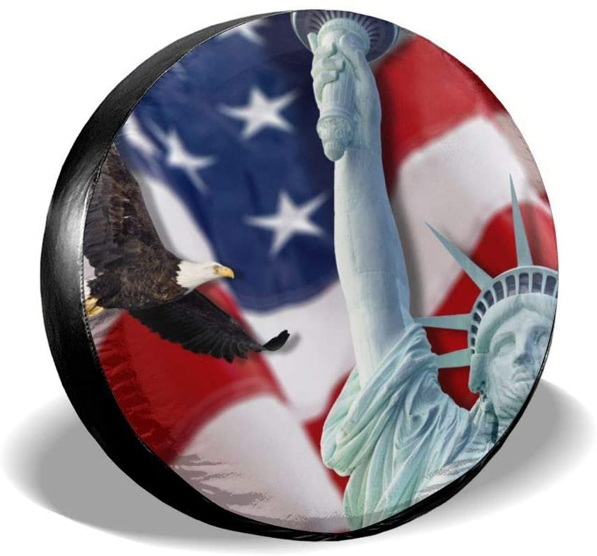 Dujiea Bald Eagle Statue of Liberty Spare Tire Cover, Universal Wheel Tire Cover Waterproof Dust-Proof Tire Protectors for Jeep Trailer Rv Van SUV Truck Camper and Many Vehicle 14 15 16 17 Inch