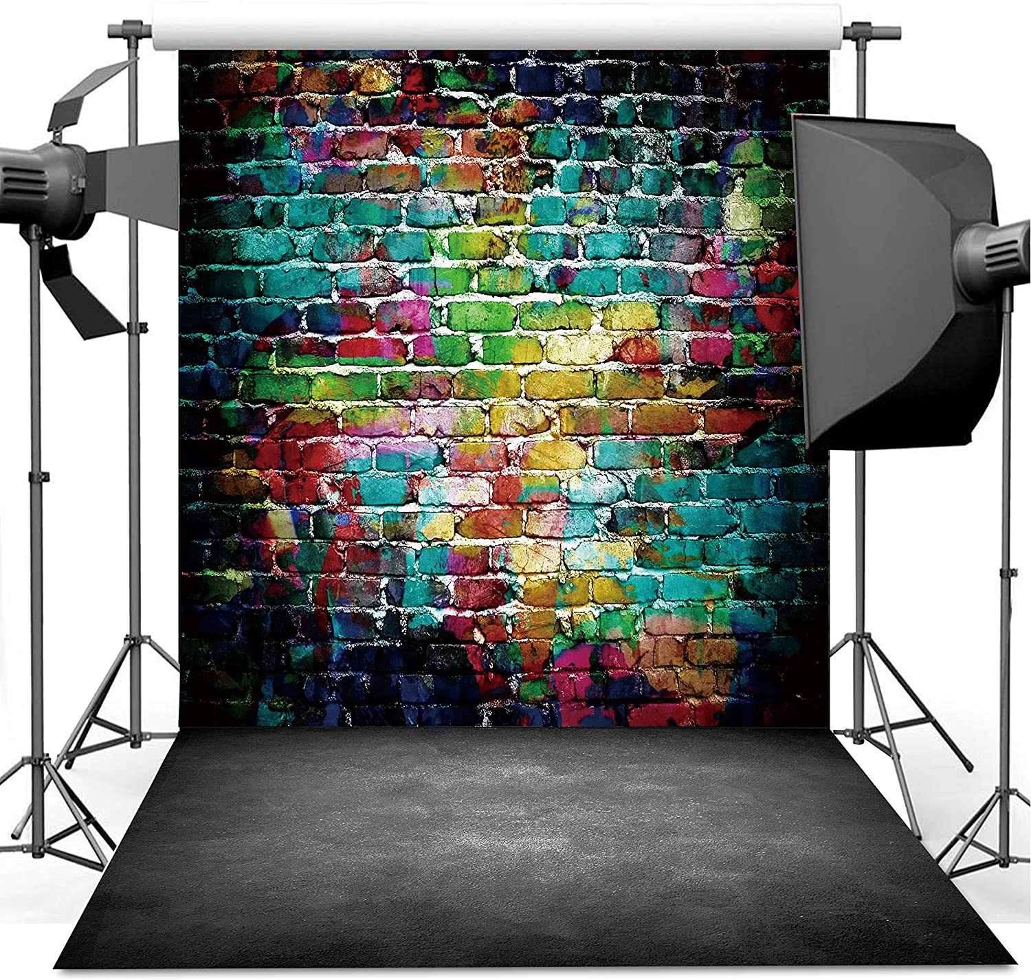 Dudaacvt Graffiti Photography Backdrop, 5x7 ft Colorful Brick Wall Vintage Cement Floor Backdrop for Studio Props Photo Background Q0010507