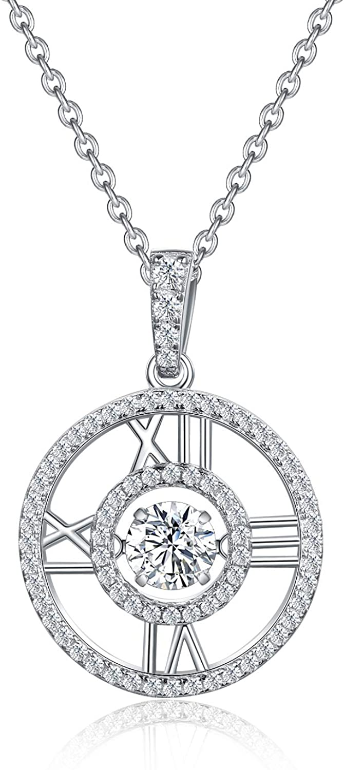 PEIMKO Roman Number Dancing Cubic Zirconia Sterling Silver Roman Numeral Necklaces - White