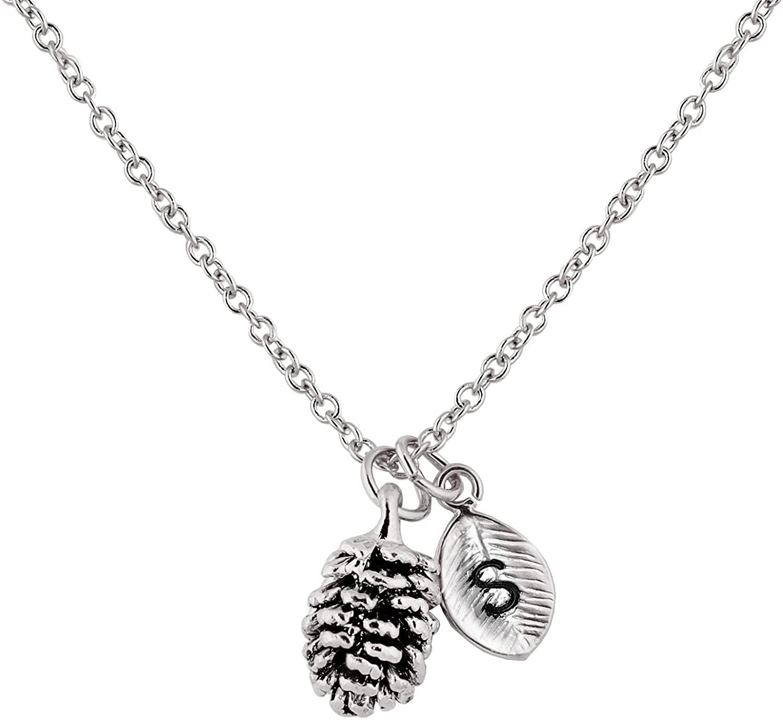 MignonandMignon Silver Dainty Pinecone Necklace Initial Necklace Nature Necklace Leaf Necklace for Her