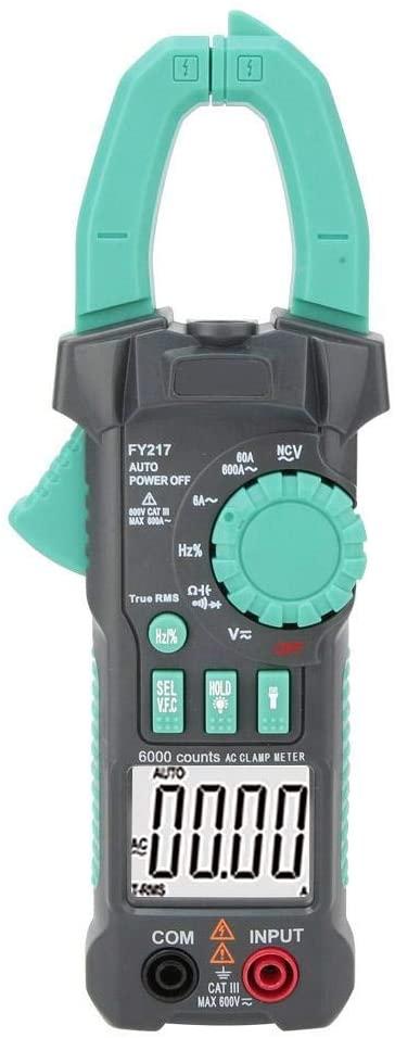 Multimeter, FY217 True RMS NCV AC DC Clamp Meter Digital Current Meter Voltmeter Ammeter Automatic Range Electricians Measurement Tester
