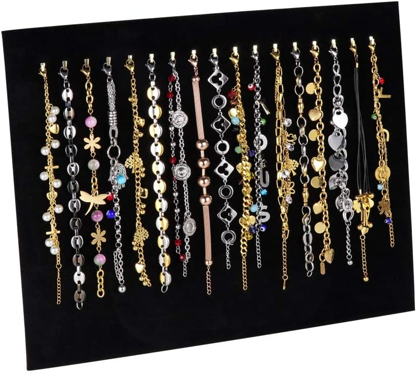 Rainbowie Velvet 17 Hook Necklace Jewelry Tray Jewelry Display Organizer Holder Pad Showcase Display Stand (Black-17 Hook)
