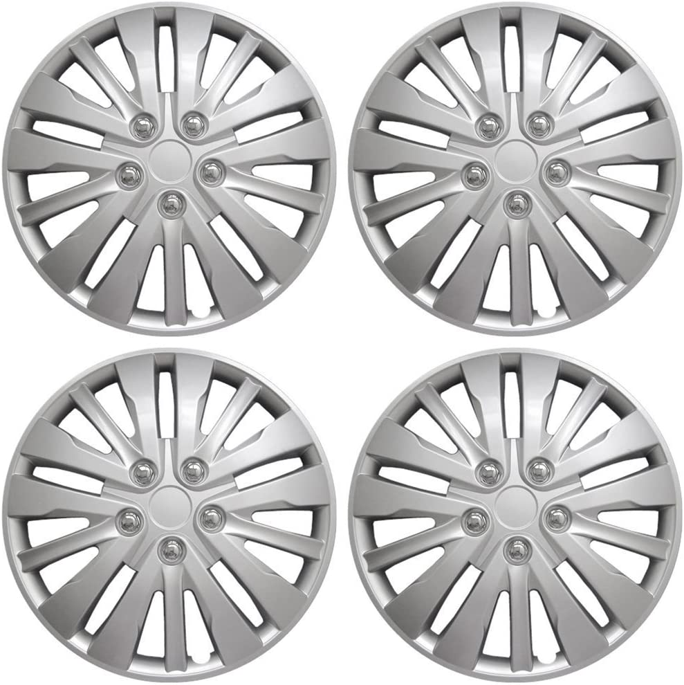 16 inch Hubcaps Best for 2008-2012 Honda Accord - (Set of 4) Wheel Covers 16in Hub Caps Silver Rim Cover - Car Accessories for 16 inch Wheels - Snap On Hubcap, Auto Tire Replacement Exterior Cap