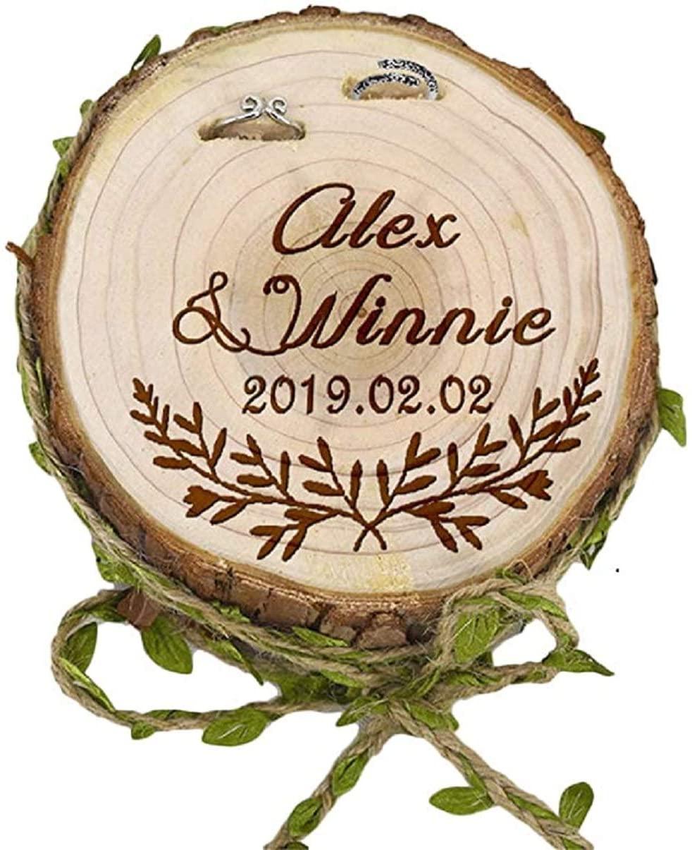 epinglu Personalised Wooden Wedding Ring Box - Custom Engraved Rustic Ring Box Marry Proposal Engagement Ring Bearer Box Holder