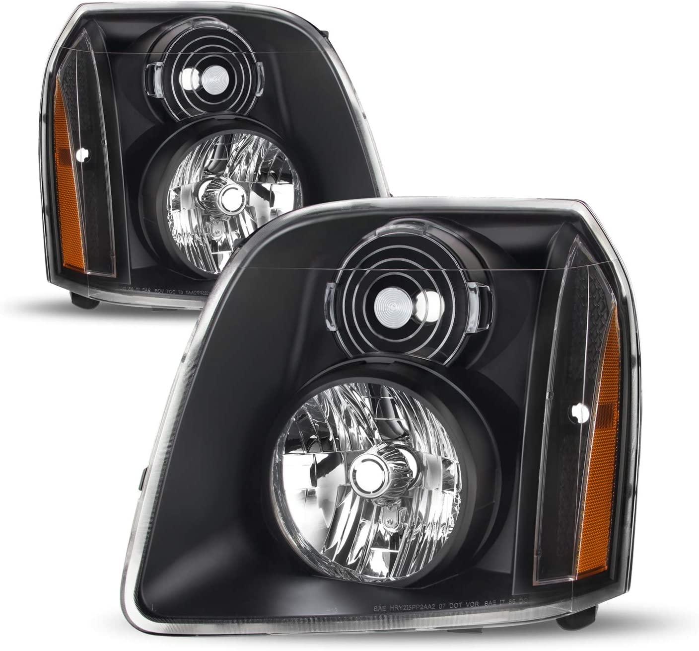For 07-14 GMC Yukon/Yukon XL Denali Hybrid Amber OE Style Headlights Head Lamps Black Housing Assembly