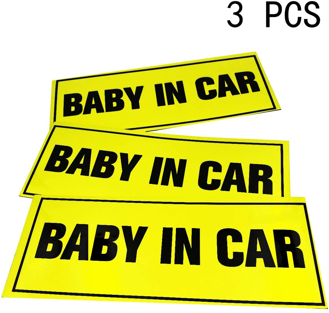 SHENGAYWAUTO Car&Vehicle Reflective Sticker for Beginner or Novice Student Driver Sign,Safety Sign Vehicle Bumper Magnet, Kids Safety Warning Sucker Sticker(3 Packs - Baby in car,8.5 x 3.34 inch)
