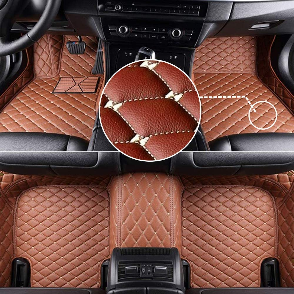 MyGone Car Floor Mats for Toyota Land Cruiser 2009-2017 2010 2011 2012 2013 2014 2015 2016, Leather Floor Liners - Custom Fit Waterproof Comfort Soft, Front Rear Row Full Set Brown
