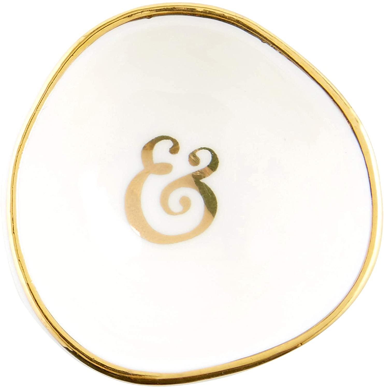 Creative Brands 2 Handmade White Ceramic Ring Holder Dish with Ampersand Design
