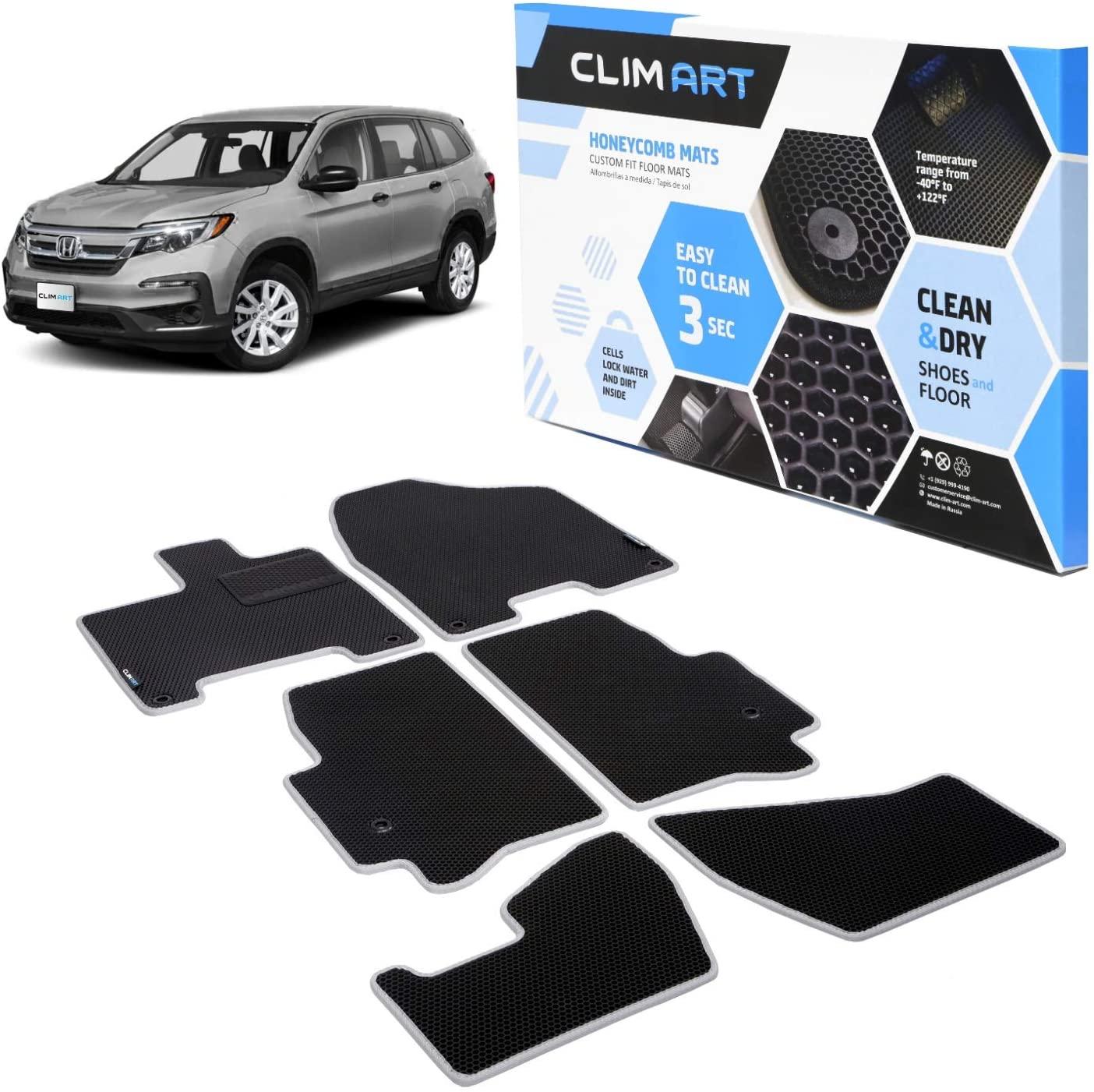CLIM ART Honeycomb Custom Fit Floor Mats for Honda Pilot 2016-2020, 1st & 2nd & 3rd Row, Car Floor Liner, Allweather, Car Accessories, Tapetes para Autos, Black/Silver – FL041616067