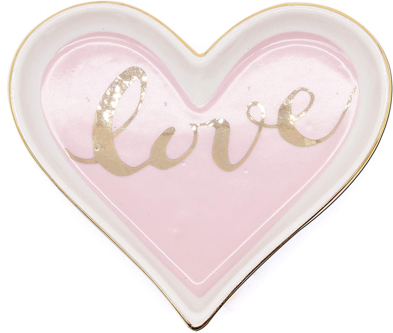 Ceramic Pink Love Heart Shape Ring Dish Holder Trinket Dish Holder Jewelry Holder,Engagment Wedding Gifts for girls,women,Newlyweds and Bridal