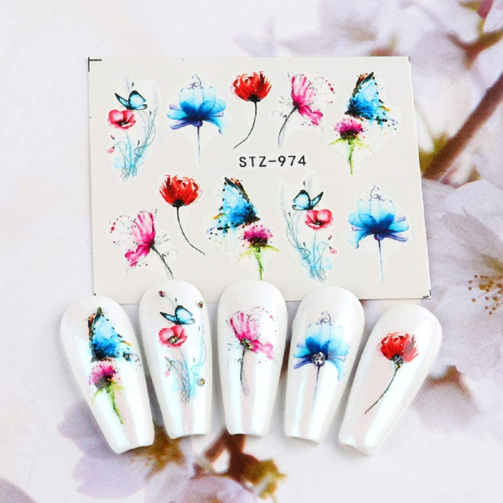 1pcs Black White Flowers Stickers for Nails Green Leaves Water Decal Slider Nail Art Wraps Manicure Decor Tattoo (STZ-974)