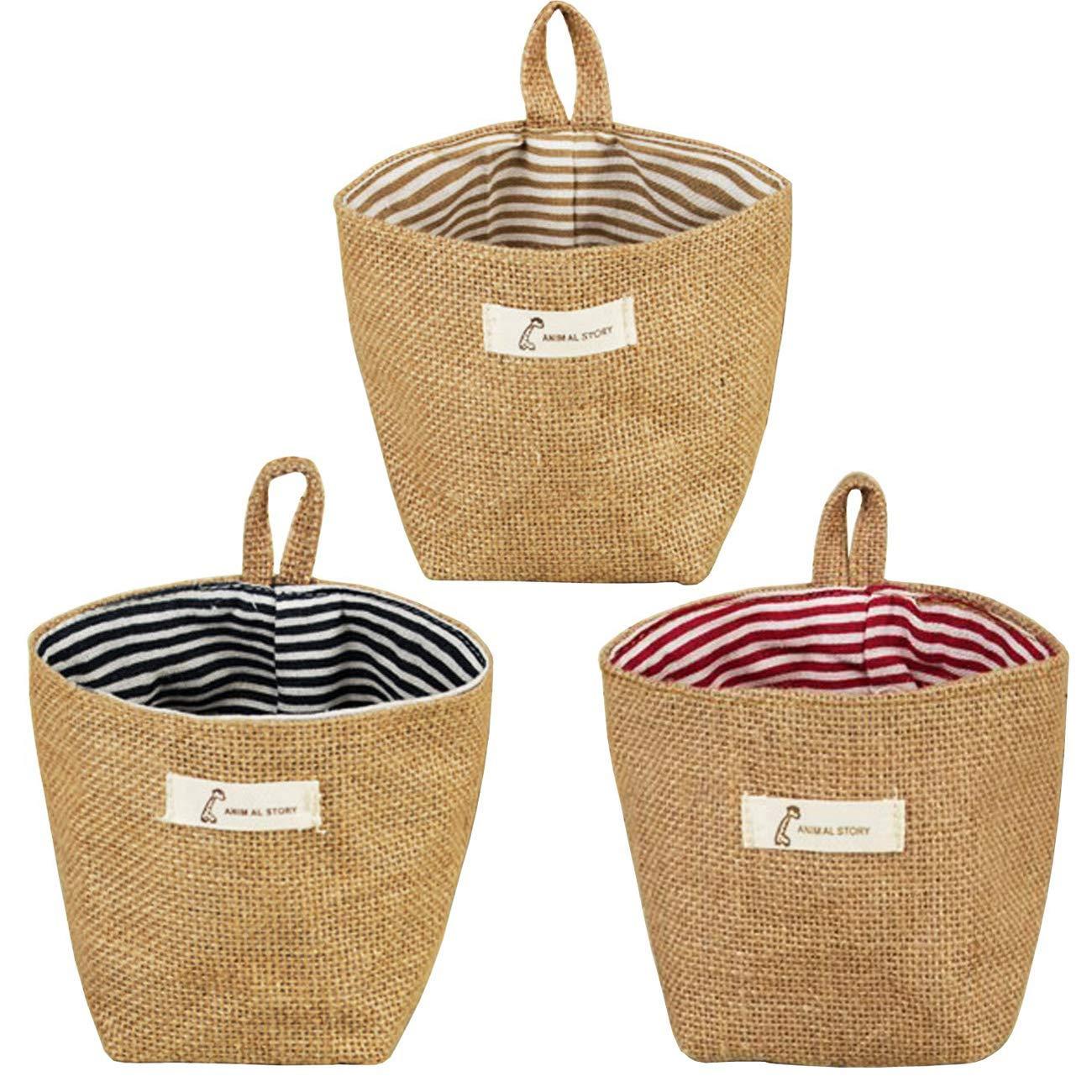 Acronde 3PCS Mini Hanging Storage Bag Cotton Linen Small Storage Basket Collapsible Convenient Decor Bin Bag for Room Wall Door Closet (Stripe)