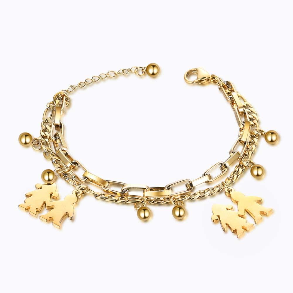 kaululu Personalized Charm Bracelets for Women Teen Girls Custom Engraved Bracelets Women's Bangle Bracelets with Name Adjustable Pendant Bracelet for Mother Wife BFF Christmas Birthday Gift