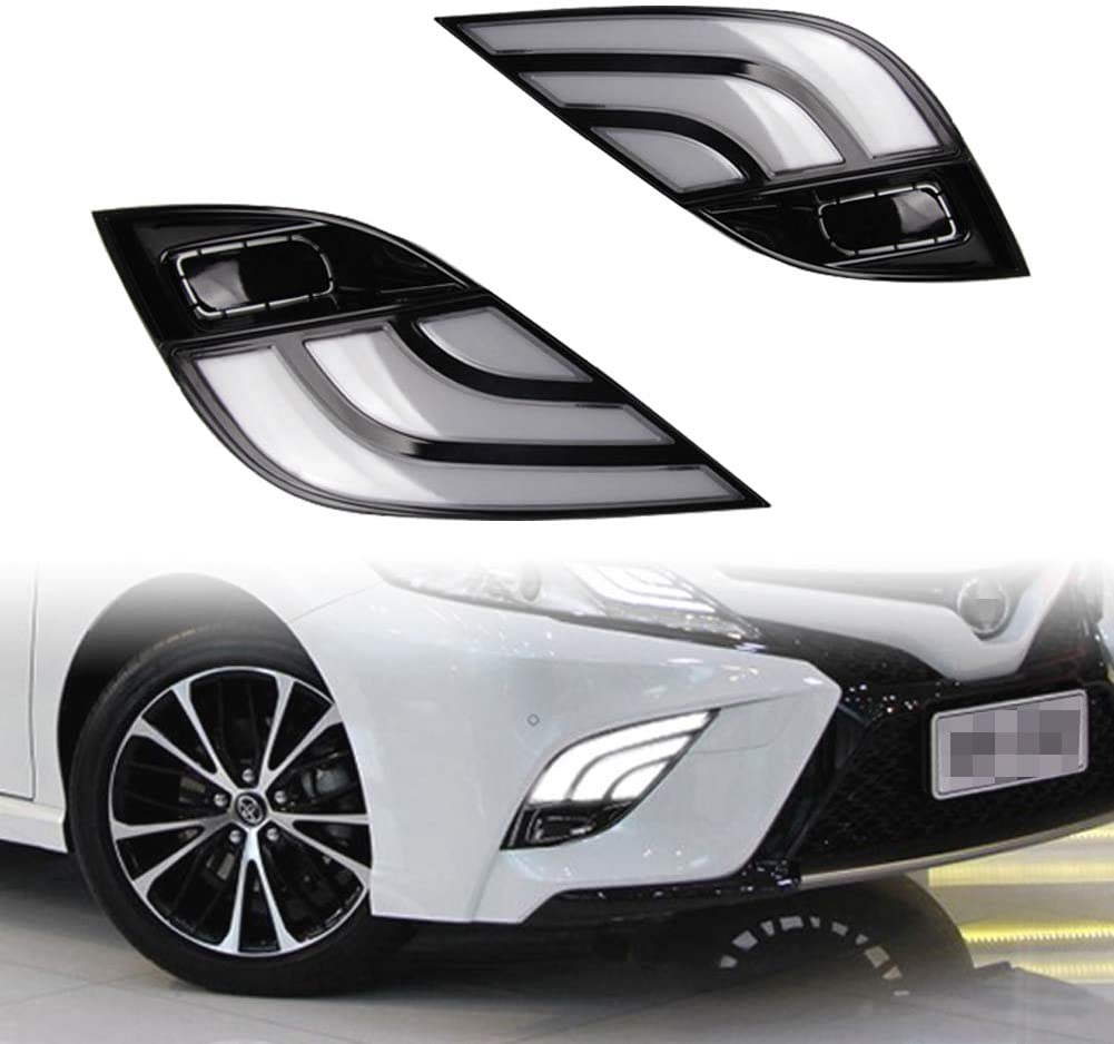 PGONE Switchback White/Amber LED Front Fog Daytime Running Lamp w/Dynamic Flash LED Turn Signal light Feature For 2018-up Toyota Camry SE XSE TRD Accessories