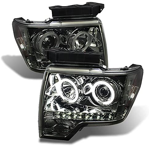 For Ford F150 F-150 Pickup Chrome Clear CCFL Halo LED Projector Headlights Front Lamps Replacement