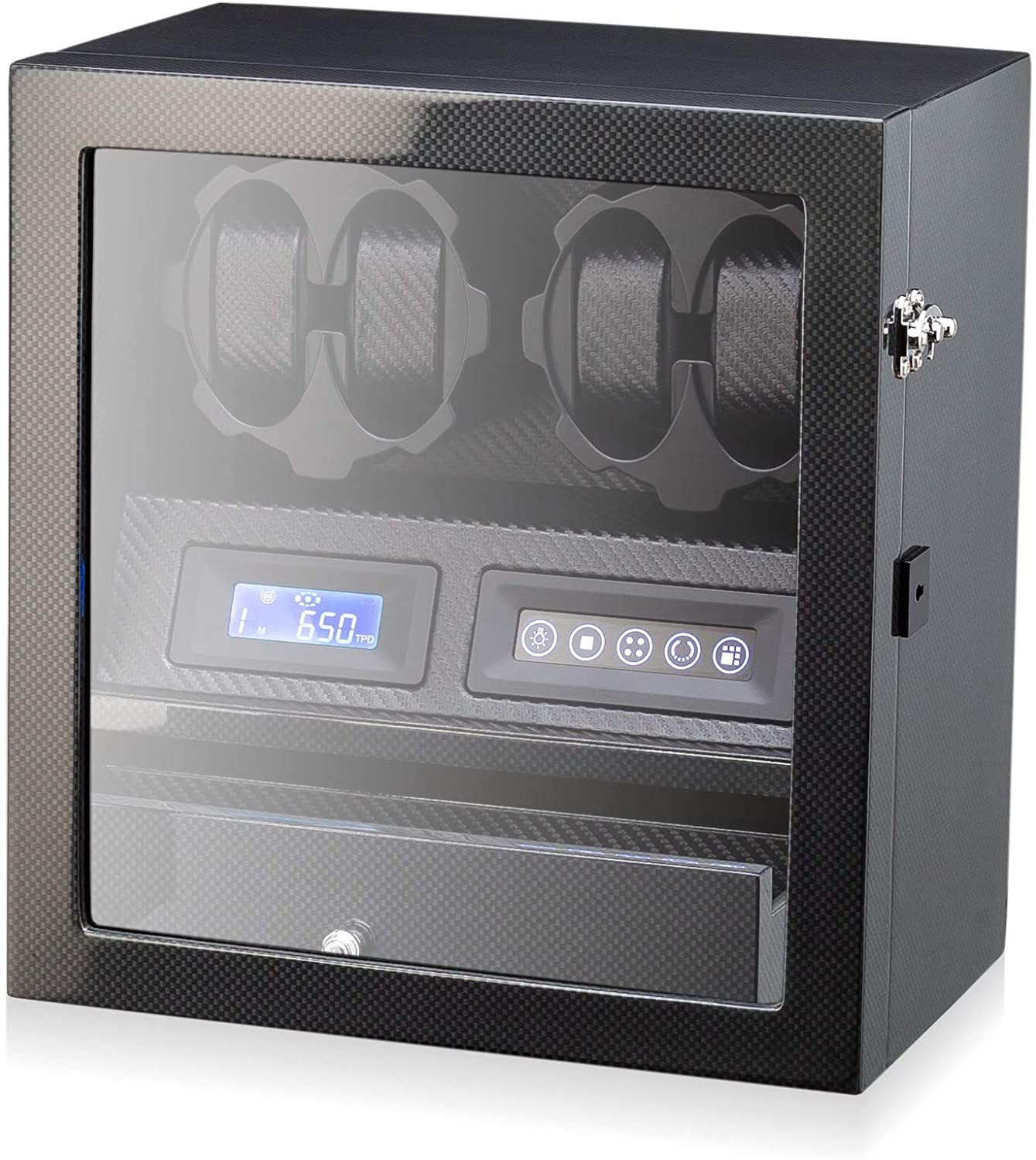4 Watch Winder with 5 Watch Storage Space, LCD Display, Touch Control and Interior Backlight