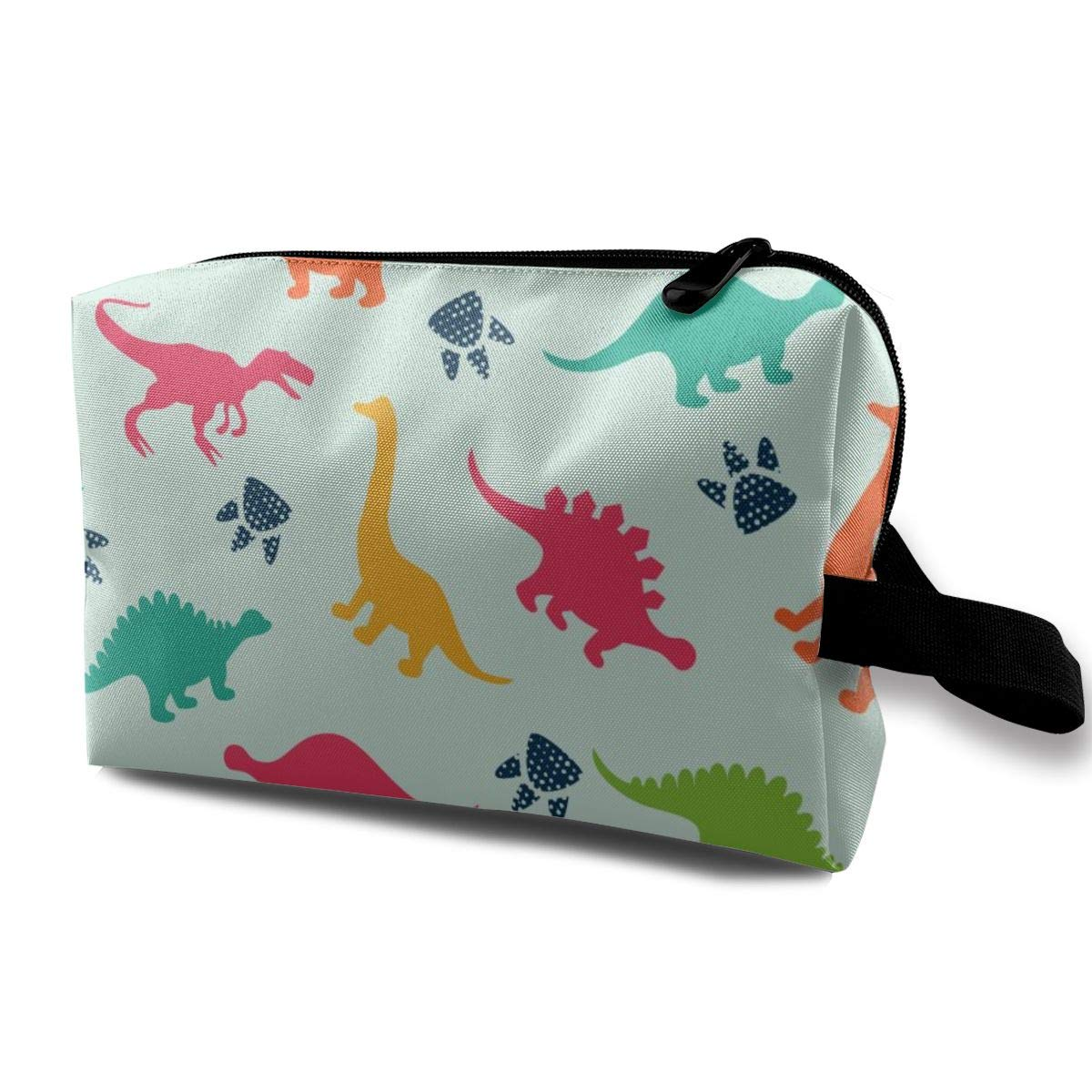 Colorful Cartoon Dinosaurs Abstract Portable and Waterproof Cosmetic Bag Purse Travel Toiletry Bag Organizer Bag Pencil Case,for Cosmetic Lipstick Coin Jewelry Electronic Accessories